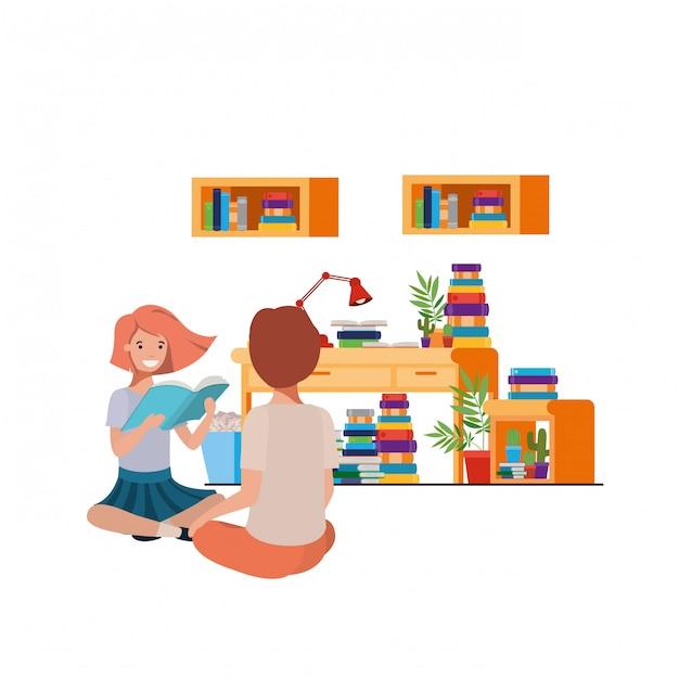 Coppia seduta con una pila di libri Vettore Premium