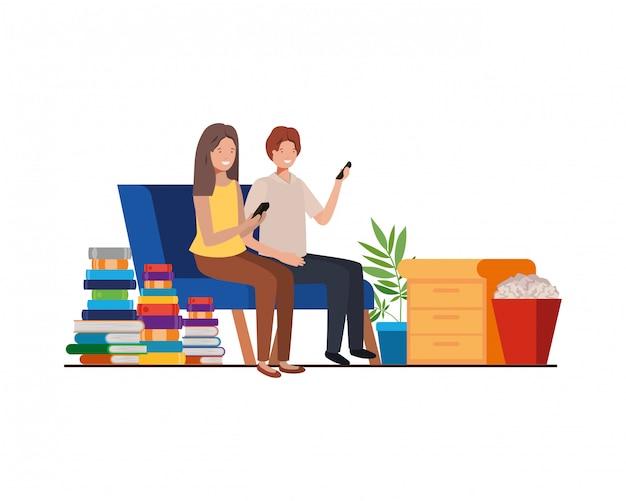 Coppia seduta nel personaggio avatar ufficio lavoro Vettore Premium