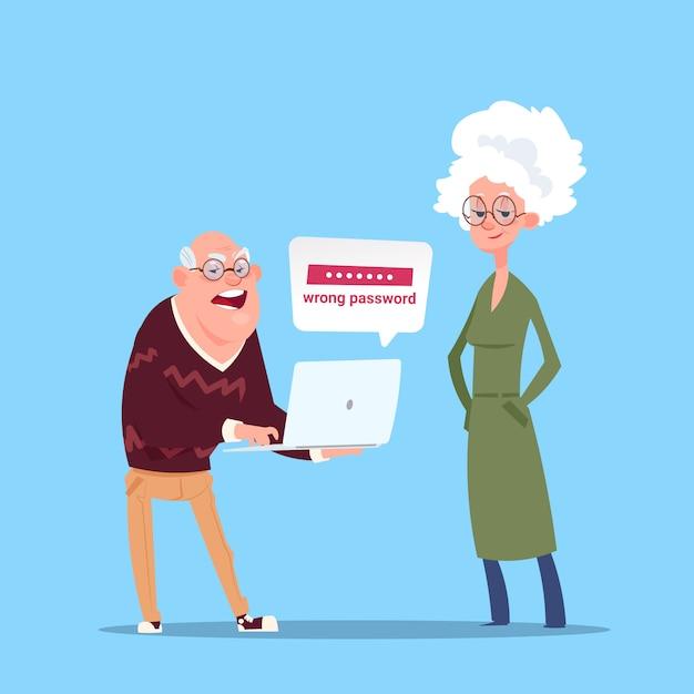 Coppia senior persone utilizzando il computer portatile nonno e nonna moderna figura intera Vettore Premium