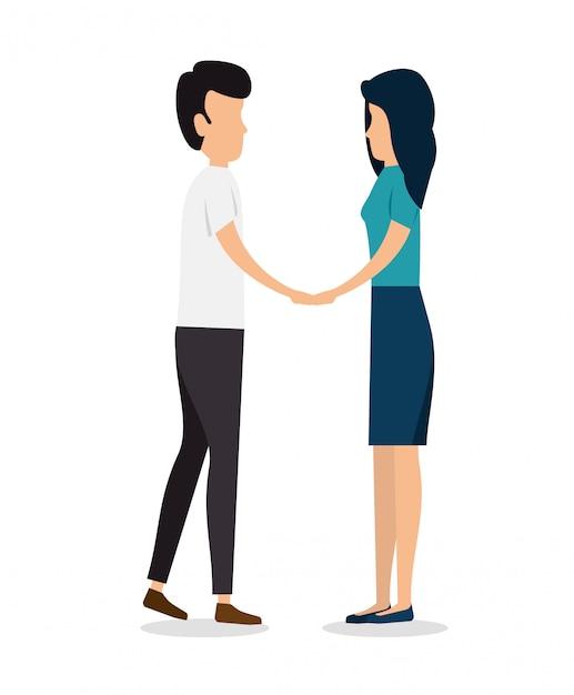 Coppia uomo e donna insieme Vettore gratuito