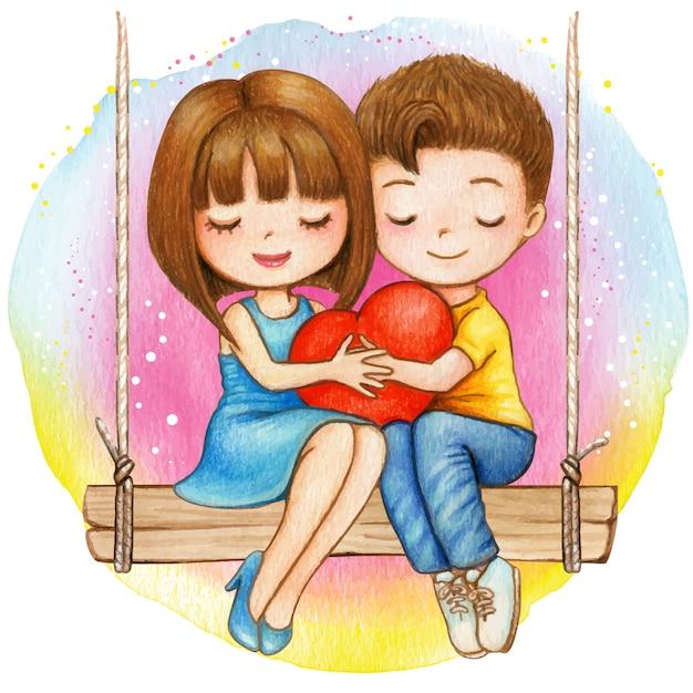 Coppie adorabili dell'acquerello che si siedono su un'oscillazione che tiene insieme un cuore Vettore Premium