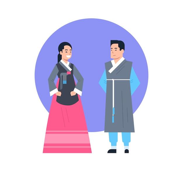 Coppie asiatiche dei vestiti tradizionali della corea che portano la raccolta asiatica del vestito isolata costume antico Vettore Premium