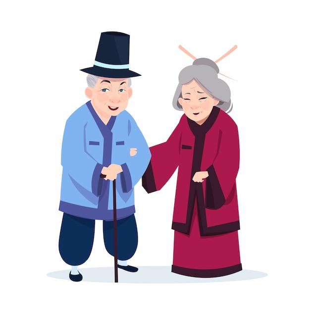 Coppie asiatiche senior che portano i costumi tradizionali Vettore Premium