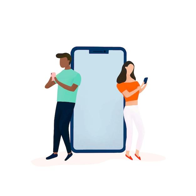Coppie che chiacchierano sul vettore di media sociali Vettore gratuito