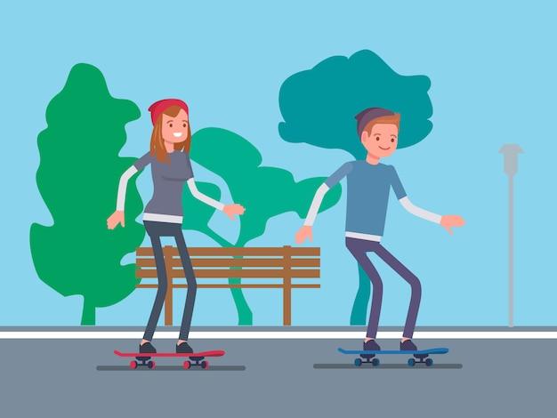 Coppie che giocano a skateboard nel parco Vettore Premium