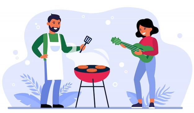 Coppie che hanno barbecue party all'aperto Vettore gratuito