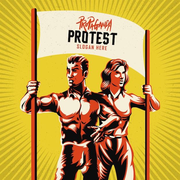 Coppie che tengono l'illustrazione in bianco di vettore del cartello Vettore Premium