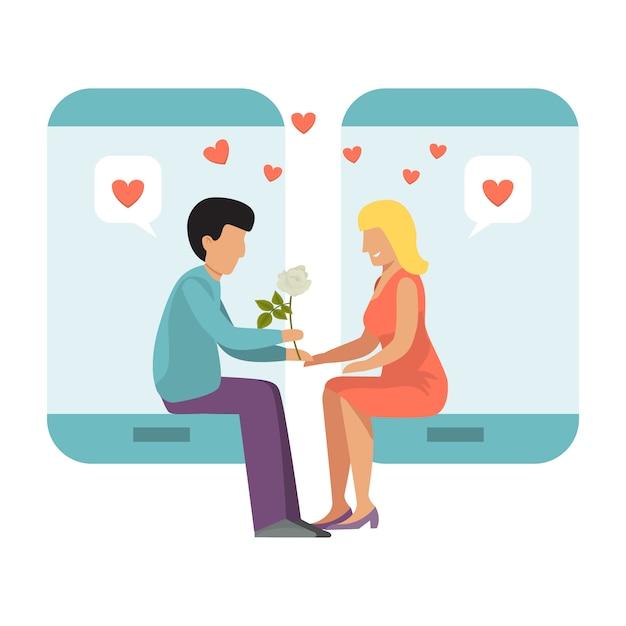 Coppie con lo smartphone di datingillustration online. il ragazzo e la ragazza nella data del telefono sulla linea amano. riunione su internet di persone sole. Vettore Premium
