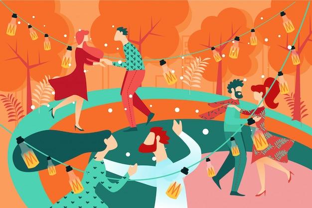 Coppie del ballerino della gente del fumetto sul parco di dance floor Vettore Premium