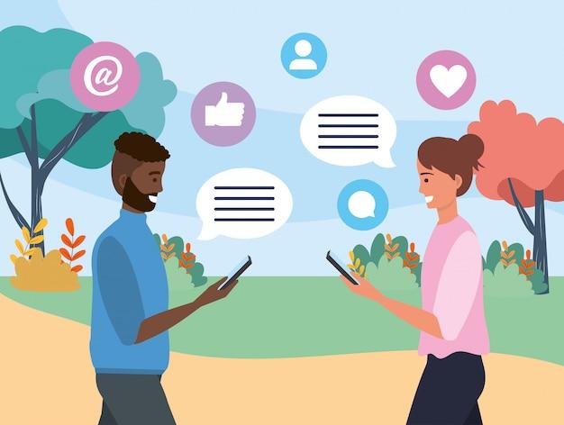 Coppie dell'uomo e della donna con la comunicazione della bolla di chiacchierata Vettore Premium