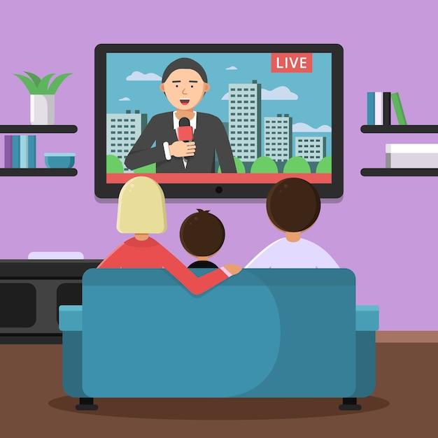 Coppie della famiglia che si siedono sul sofà e sulle notizie di sorveglianza alla tv Vettore Premium