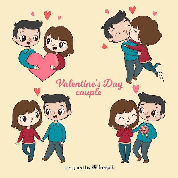 Coppie di san valentino che si divertono insieme Vettore gratuito