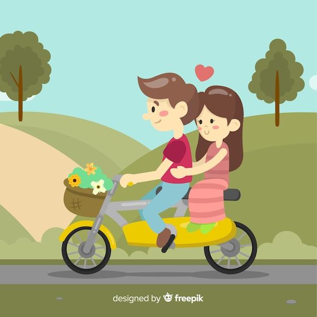 Coppie di sfondo di san valentino in sella a una moto Vettore gratuito