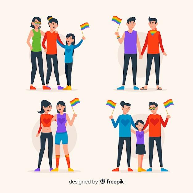 Coppie e famiglie del giorno dell'orgoglio Vettore gratuito
