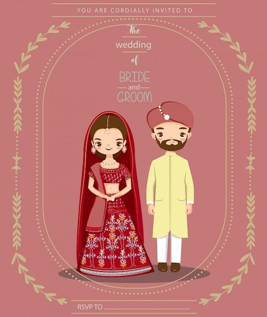 Coppie indiane sveglie per la carta di inviti di nozze Vettore Premium