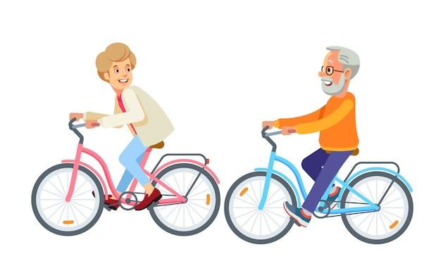Coppie mature felici che vanno in bicicletta insieme nel parco Vettore Premium