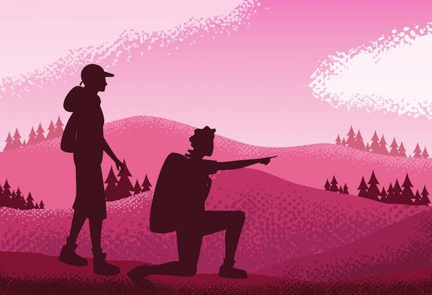 Coppie nel fondo di scena di rosa della natura del paesaggio Vettore Premium
