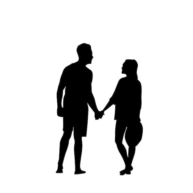 Coppie romantiche della siluetta nera che si tengono per mano integrale isolato sopra fondo bianco Vettore Premium