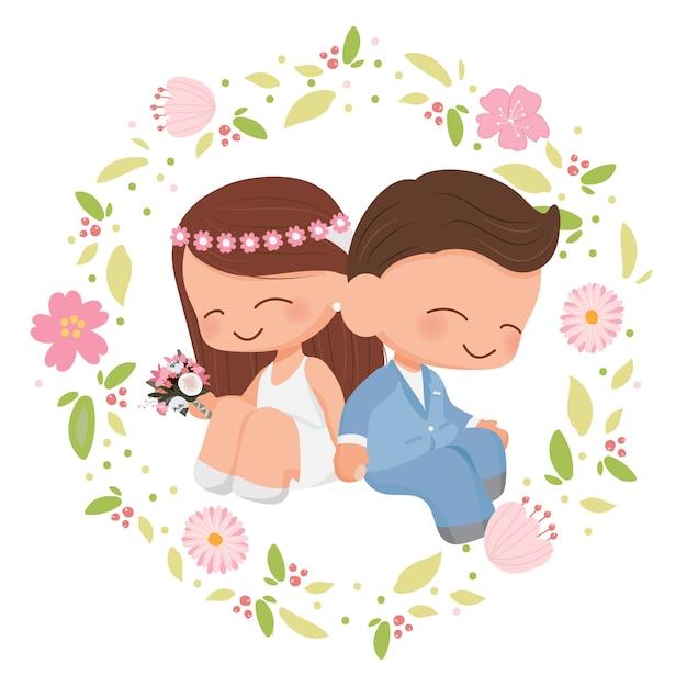 Coppie sveglie di nozze nello stile piano della corona del fiore per il san valentino o la partecipazione di nozze Vettore Premium