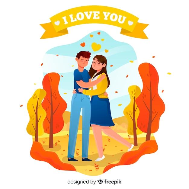 Coppie sveglie nell'amore che godono insieme di un giorno Vettore gratuito