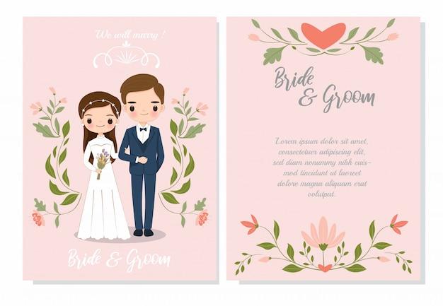 Coppie sveglie sul modello della carta dell'invito di nozze Vettore Premium