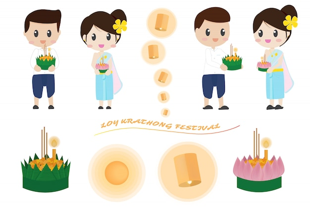 Coppie tailandesi sveglie nella raccolta degli elementi di loy krathong festival Vettore Premium