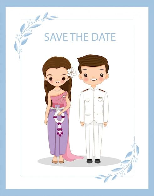 Coppie tailandesi sveglie per la carta dell'invito di nozze Vettore Premium