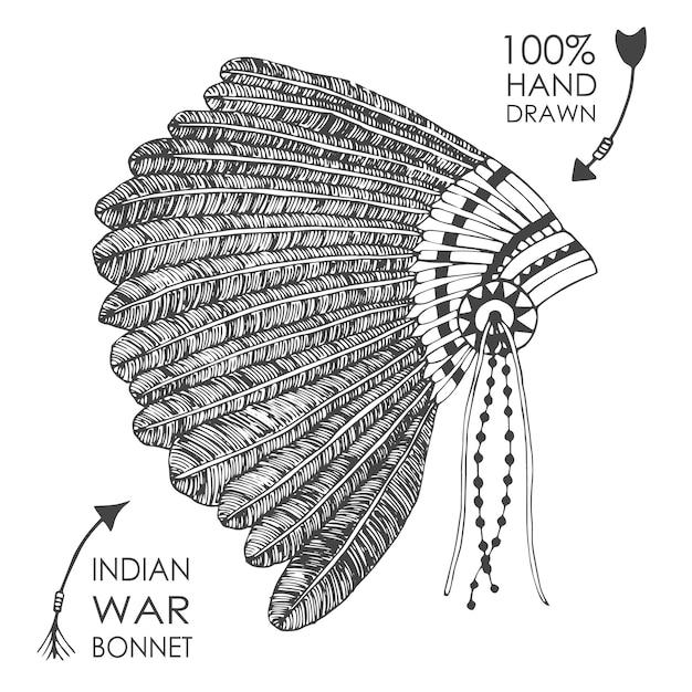 Copricapo capo indiano americano natale disegnato a mano con piume. stile schizzo illustrazione vettoriale tribale. Vettore gratuito