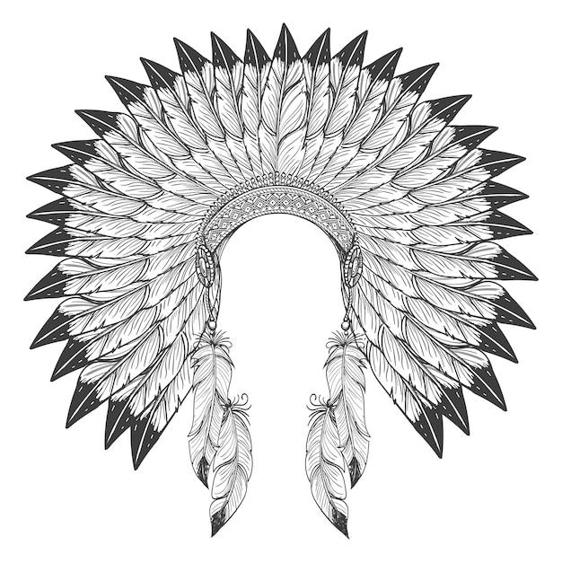 Copricapo indiano nativo americano con piume Vettore Premium