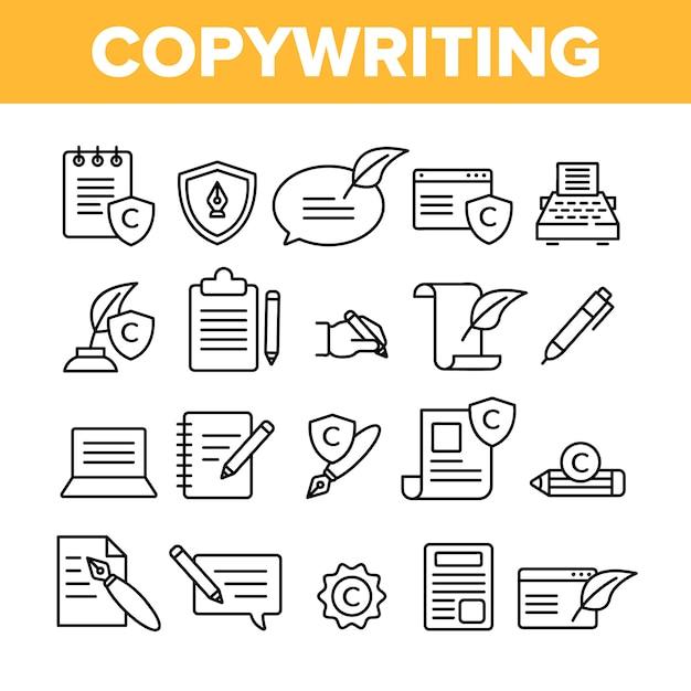 Copywriting e blogging Vettore Premium