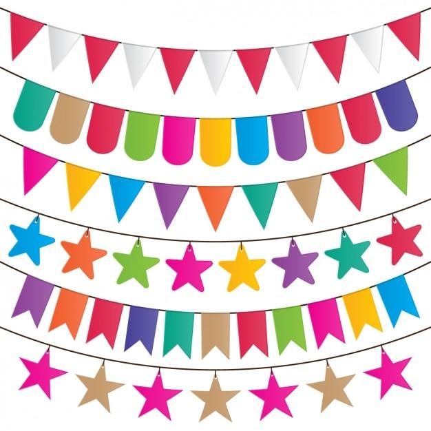 Corda con ornamenti colorati Vettore gratuito