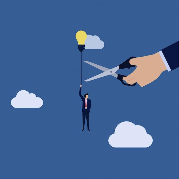 Corda del taglio della mano di affari della mosca dell'uomo d'affari con la metafora del pallone di idea di concorrenza sleale. Vettore Premium