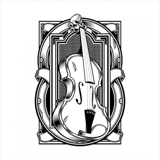 Corda per strumenti musicali viola. Vettore Premium