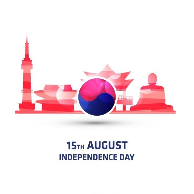 Corea del sud monumento independence day background Vettore gratuito