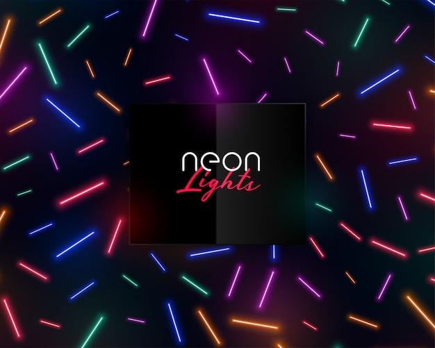 Coriandoli al neon colorati luci brillanti Vettore gratuito