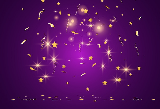 Coriandoli dorati cade su uno sfondo bellissimo. stelle filanti che cadono sul palco. Vettore Premium