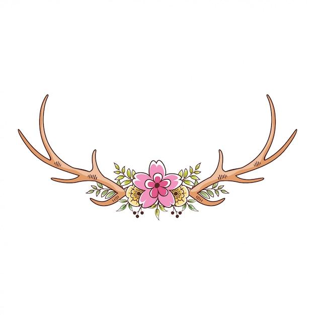 Corni di cervo floreali Vettore Premium