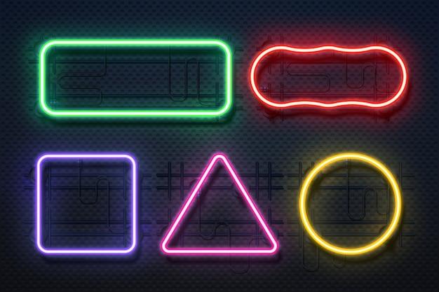 Cornice a luce al neon. retro elemento banner, futuristico bordo elettrico viola, neon bagliore rettangolo banner. Vettore Premium