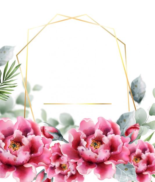 Cornice acquerello fiori di peonia. delicato decoro floreale. Vettore Premium