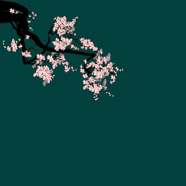 Cornice acquerello sakura Vettore Premium