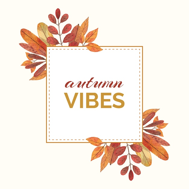 Cornice ad acquerello con foglie e rami autunnali Vettore Premium