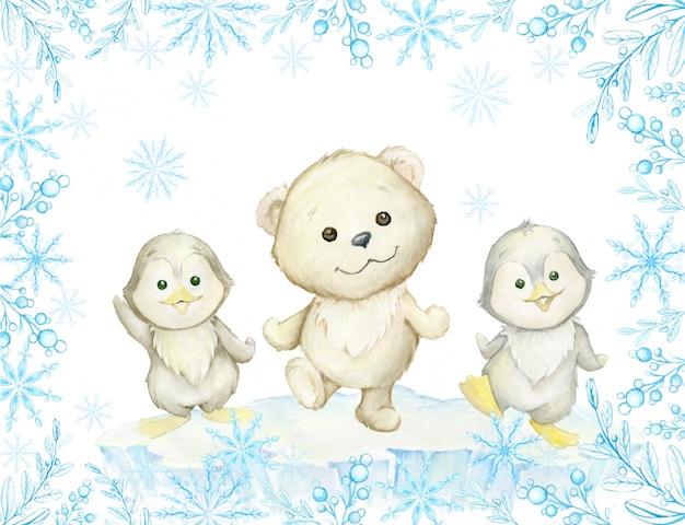 Cornice ad acquerello. simpatici animali polari, orso bianco polare e pinguini, danza. Vettore Premium