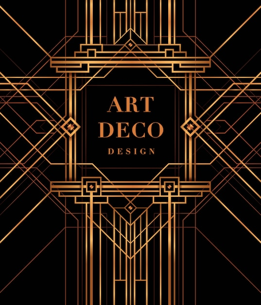 Cornice art deco, the great gatsby deco style. Vettore Premium