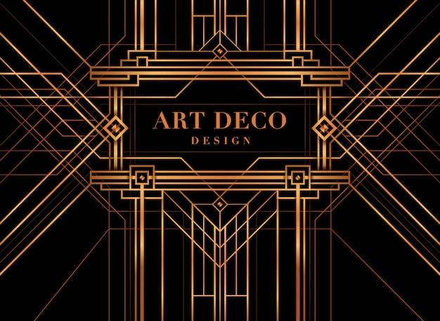 Cornice art deco, the great gatsby deco style. Vettore Premium