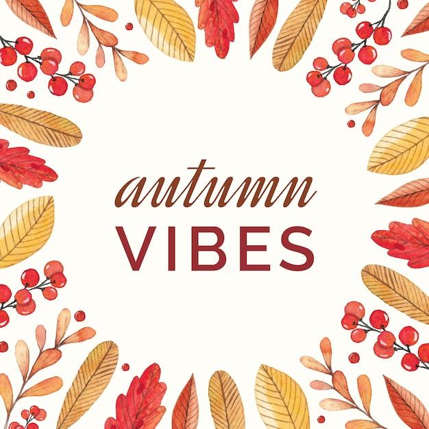 Cornice autunnale colorato con bacche e foglie Vettore Premium
