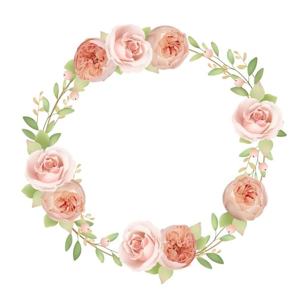 Cornice bellissima corona con rose da giardino floreale Vettore Premium