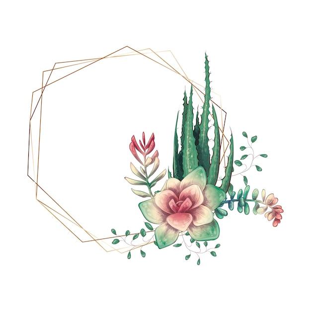 Cornice colorata di nozze con succulente e cactus. Vettore Premium