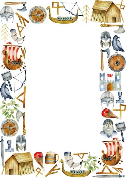 Cornice con elementi ad acquerelli di cultura vichinga Vettore Premium