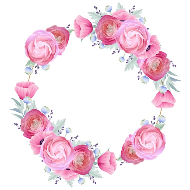 Cornice con sfondo floreale ranuncolo e fiori di papavero Vettore Premium
