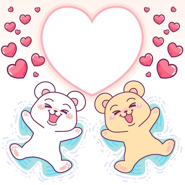 Cornice cuore di orsi carini Vettore Premium